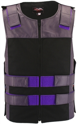 Leather & Cordura Combo Zippered Tactical Vest. Purple / Black