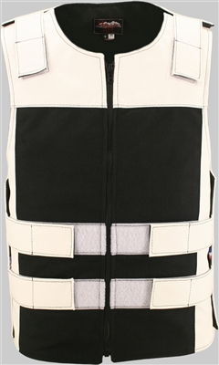 Leather & Cordura Combo Zippered Tactical Vest. White / Black