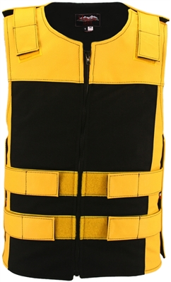 Leather & Cordura Combo Zippered Tactical Vest. Yellow / Black