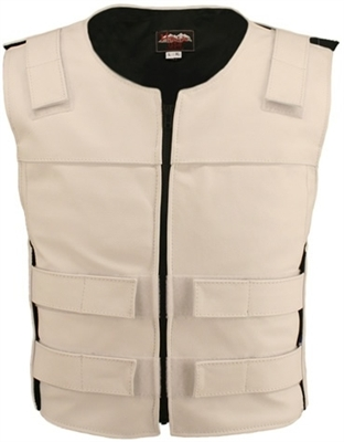 Zippered Tactical Style Leather Vest White
