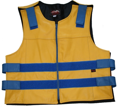 Men's Zippered Tactical Style Leather Vest Yellow/Royal Blue (Custom)
