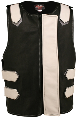 Removable Flap Tactical Leather Vest Black/White(Clearance)