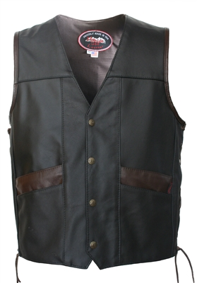 Multi Pocket Cruiser Vest with Brown Leather Trim