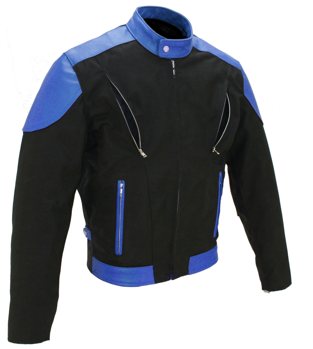 Men's Vented Leather & Cordura Jacket Black / Royal Blue I ...
