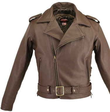 Men's Full Belted Brown Leather Biker Jacket