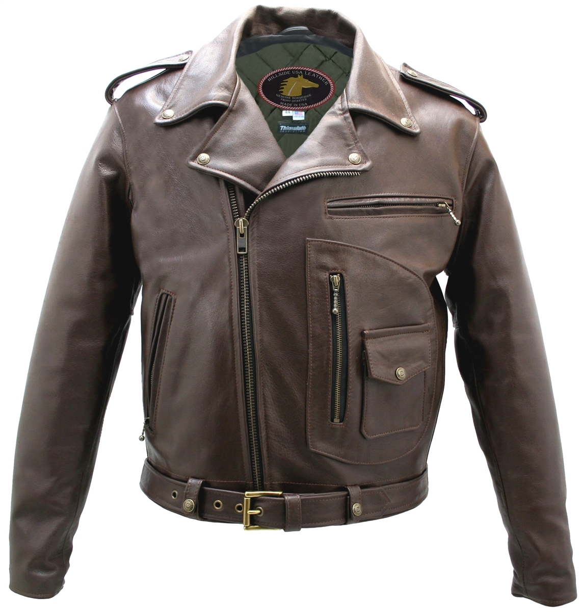 motorcycle leather usa jacket brown horsehide pocket jackets hillside gear american mens biker chaps custom vests hillsideusa accessories