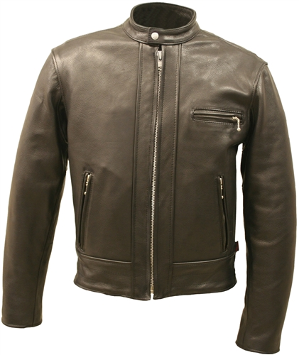Hillside USA Fitted Black Leather Racer Jacket