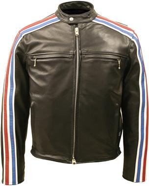 Striped Horsehide Cafe Racer Jacket