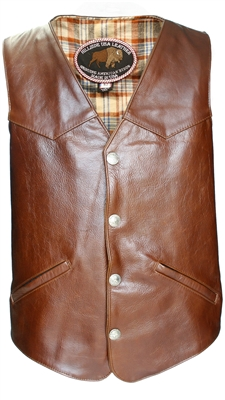 Western Style Black American Bison Leather Vest.