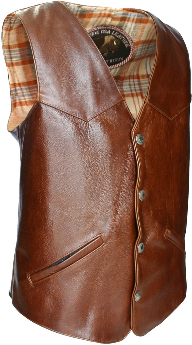Men S Western Style American Bison Leather Vest