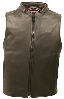Two-Way Zipper Leather Vest