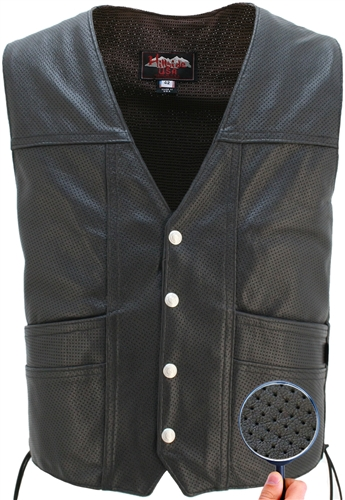 Full Perforated Leather Vest