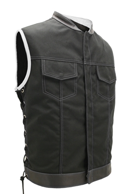 black and white leather vest