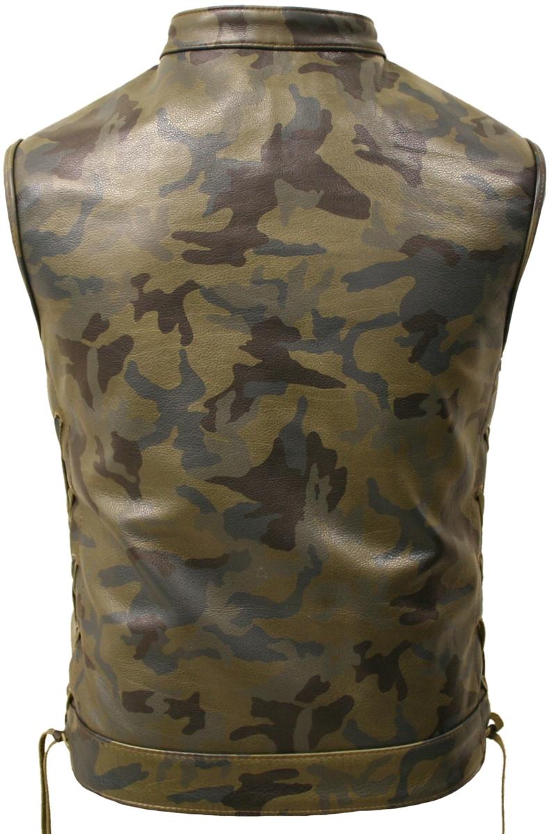 hillside usa all leather camouflage biker vest