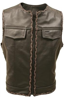 Lace side All Leather Black and Brown Braiding Vest