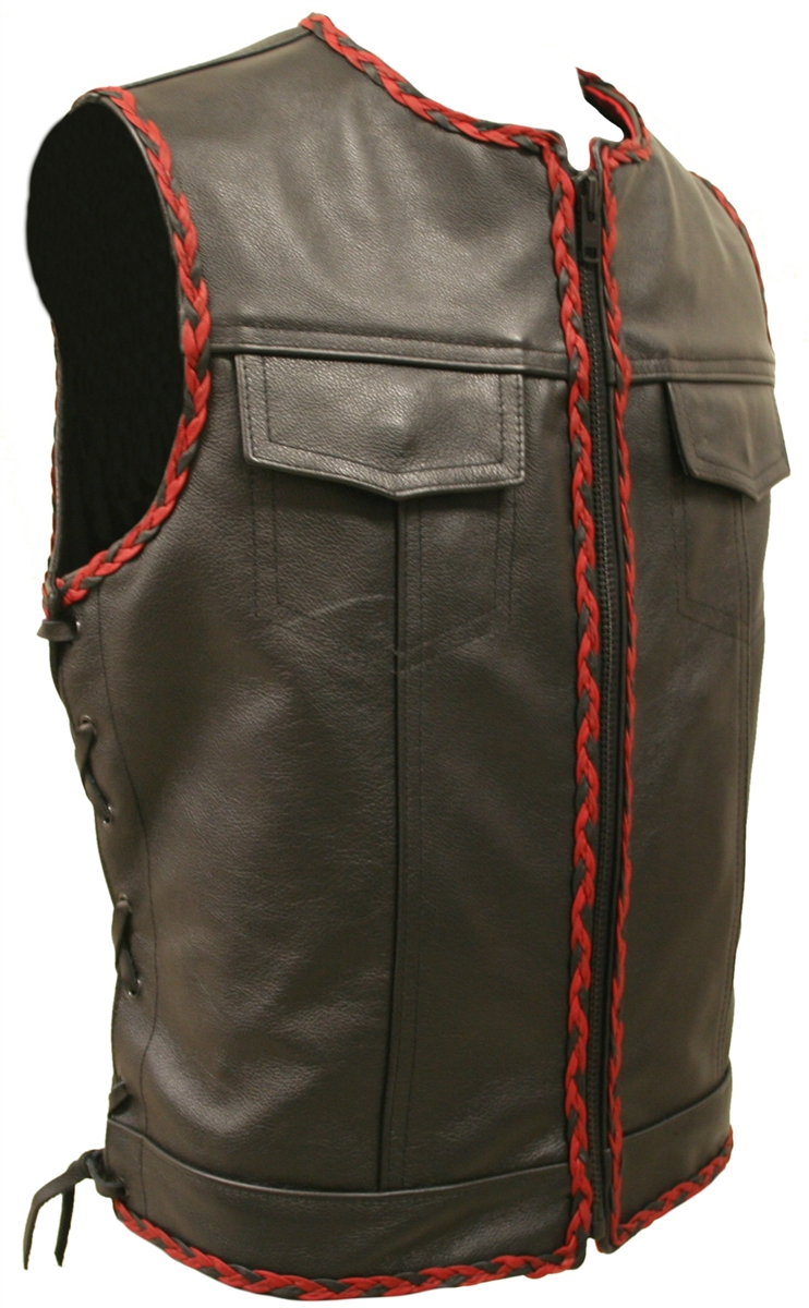 American Made Side Lace Leather Vest With Black And Red