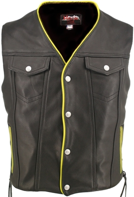 Men's Black Leather Motorcycle Vest with Yellow Trim & Gun Pockets - Hillside USA