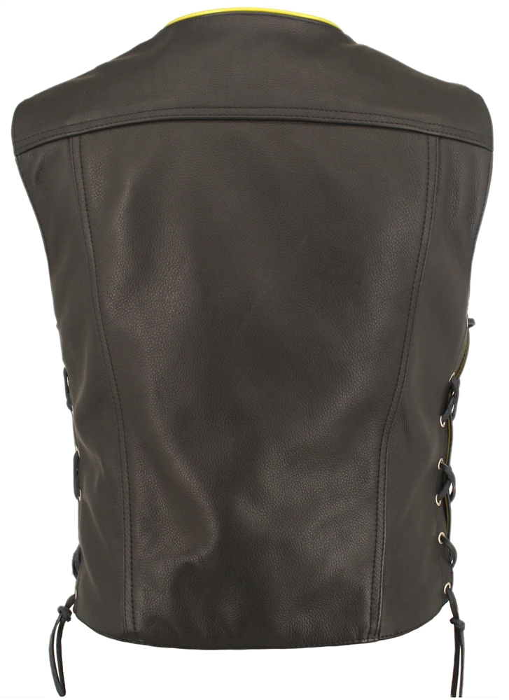 Men S Black Leather Motorcycle Vest With Lime Yellow Gun