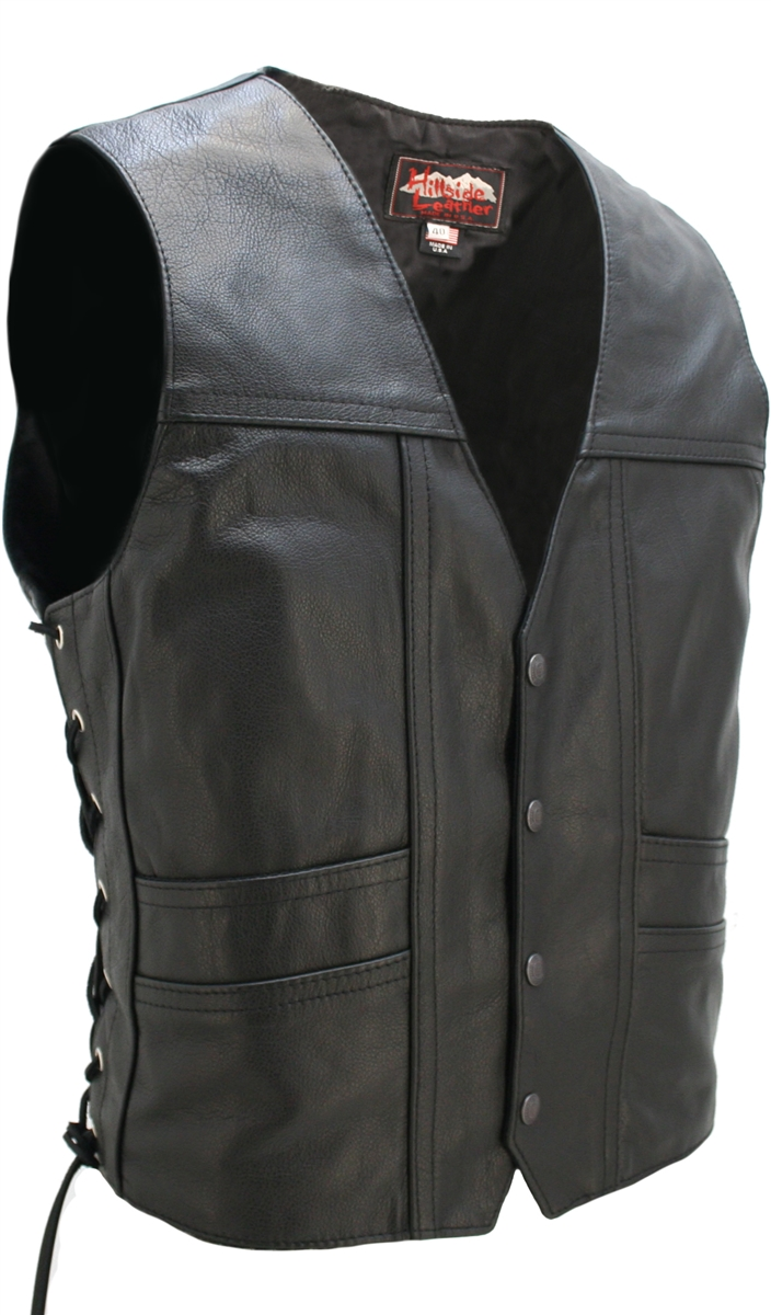Full Back Cruiser Motorcycle Leather Vest With Gun Pockets