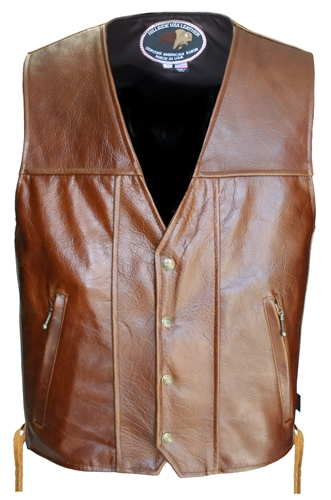 Brown Bison Leather Vest