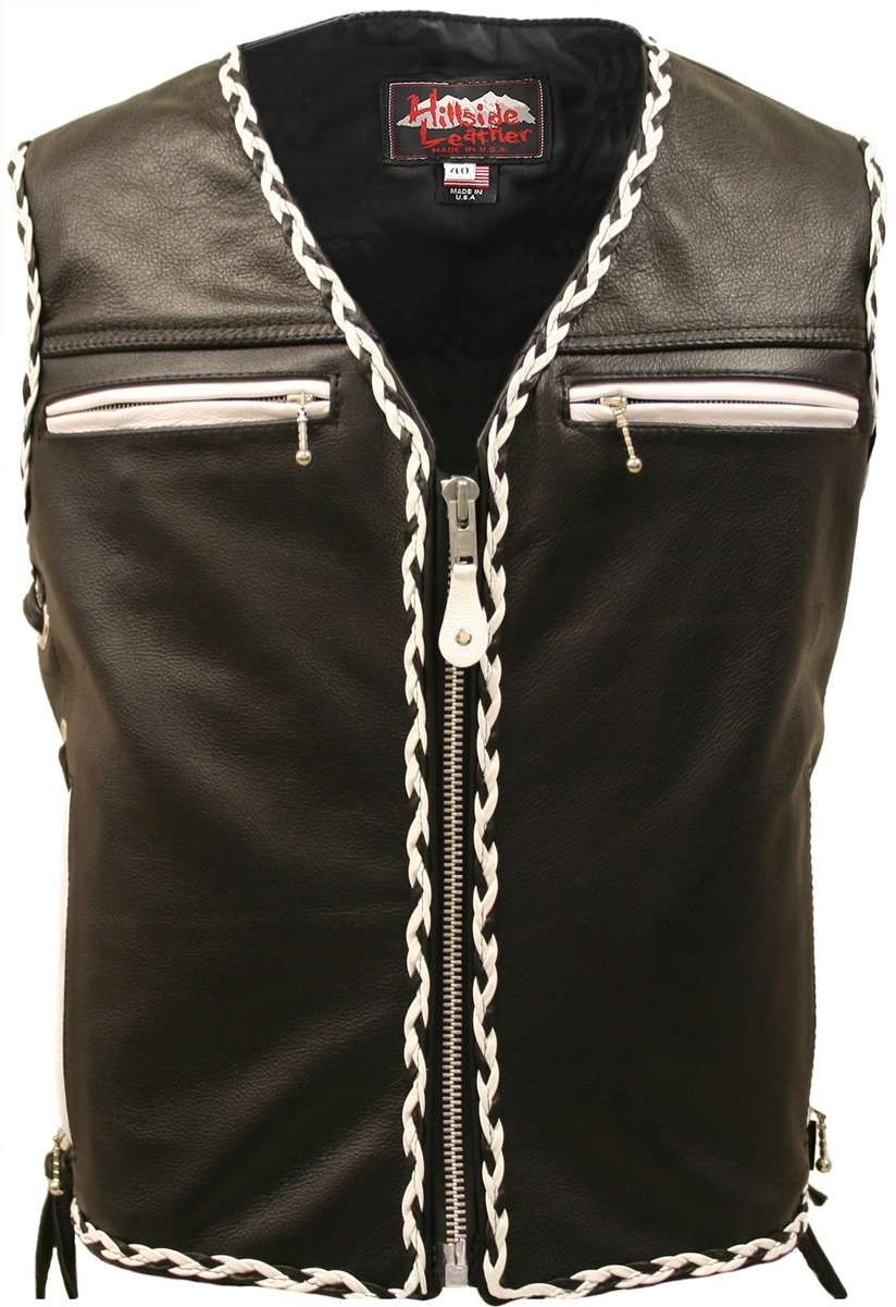 Top The Elite Black Motorcycle Leather Vest White/Black Braiding SO93